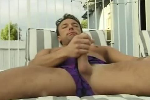 large knob Hunk Jerks His large cock Beside The Pool