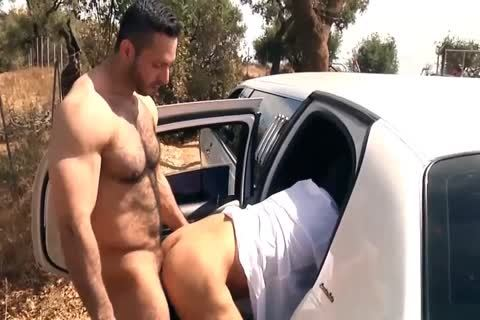 lusty muscular man acquires overspread In sperm In The Car