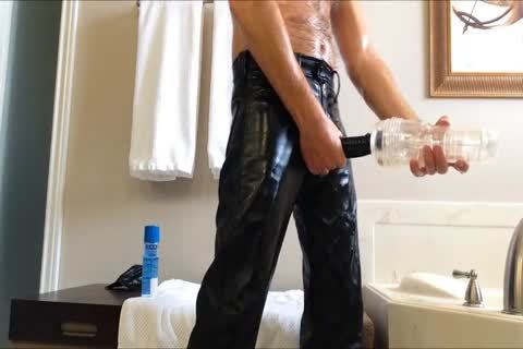 Having Some enjoyment With My Leather, Rubber cock Sheath And My Fleshjack.