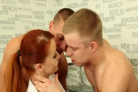 lovely bi-sexual fellows hammering With A Redhead