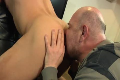 Bald boy Licks His Younger allies butthole And Sucks His dong