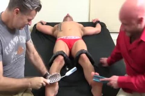lustful Bald dude With Tattoos receives Hard Tickle Session