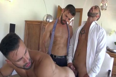 Muscle gays threesome With semen flow