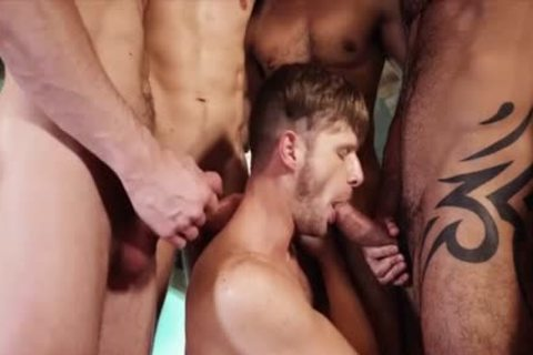 gorgeous homosexual dudes threesome With cumshot