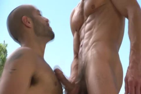 Some Beefcake pumped up dark Hunk gets shot From A admirable White penis