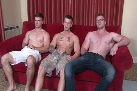 Muscle homosexual trio And cumshot