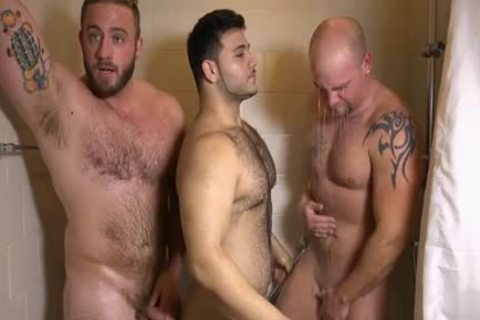 Muscle homosexual threesome And semen flow