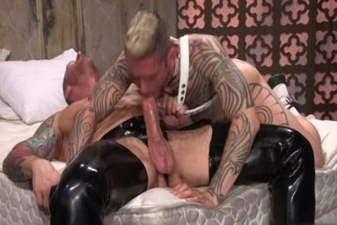 Tattoo'd Muscle Beefcakes With Bum Love Behind hammering Fetish lick penis And Take A goo flow