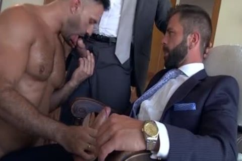 Muscle gay threesome And goo flow