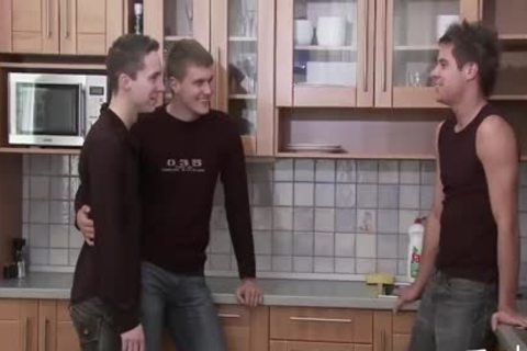 teen lad MEDIA Pissing teen Kitchen trio