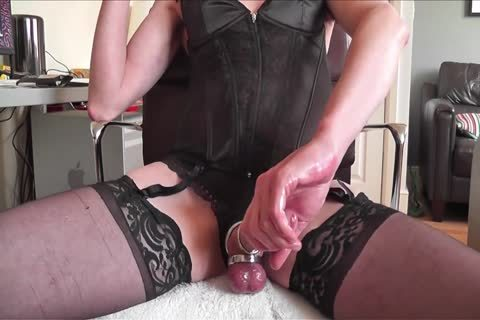darksome Corset, nylons, steel Rings And cum
