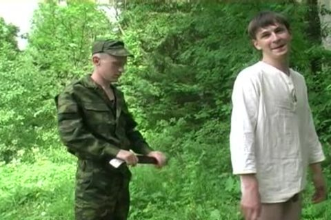 Two Military Males receive blowjob