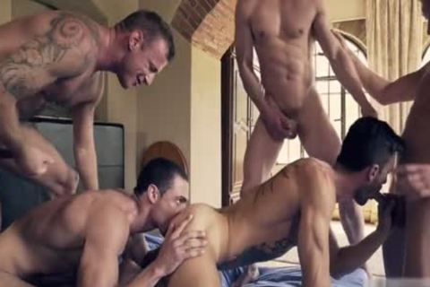 attractive homosexual double penetration With cumshot