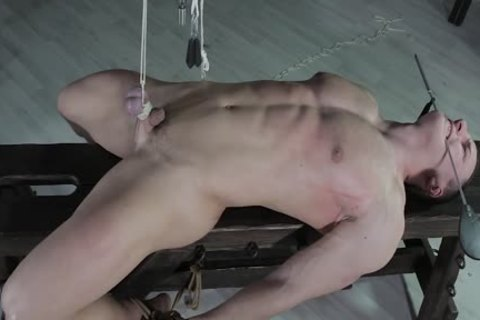 lusty lad fastened Down, Balls Strung Up And Spanked
