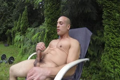 sexy Bald Muscle man Shows Off His 9-inch Sausage