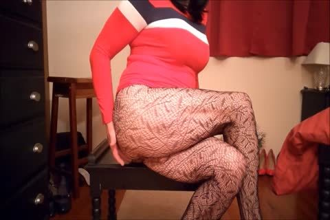 SL4UA Holly Cums Hard In Red costume Patterned nylons