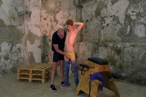 nice-looking Ginger Sub tied Up For bdsm jerk off Session