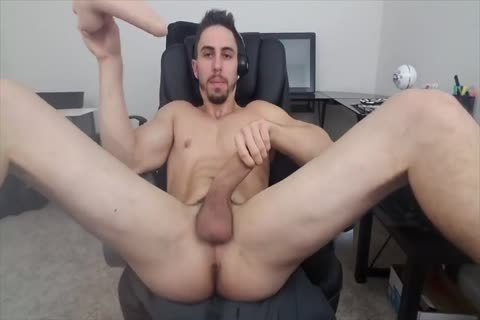 Stretching His aperture With A fake penis