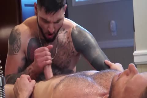 Tattooed lad receives His chocolate hole Massaged
