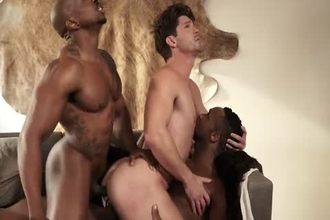 Two darksome dudes pounding A White lad naked