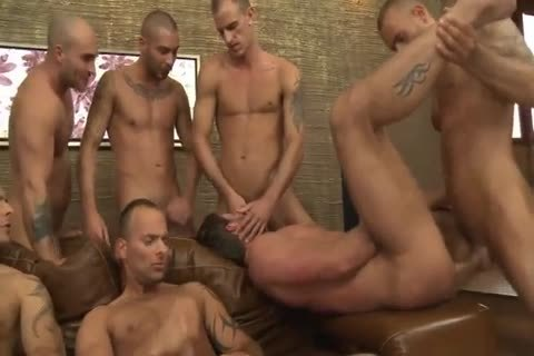 Toby Dutch gets nailed In A Seven-man bareback bunch gangbang