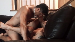 Pierre Fitch acquires nailed raw On A Leather daybed - American Sex