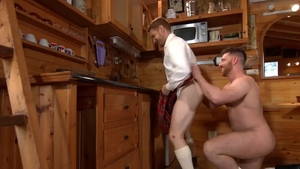 Menofuk.com - Pierced Leander throat fucking in the kitchen