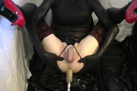 Sissy receives poked Locked By The Machine