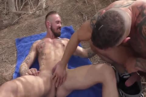 three old males acquire Fertilized In Arid Nature