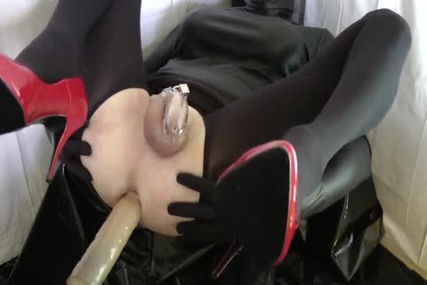 Sissy With Red Heels Is hammered In A Chastity Belt