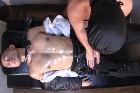 Muscle Businessman Being Massaged And Then banged