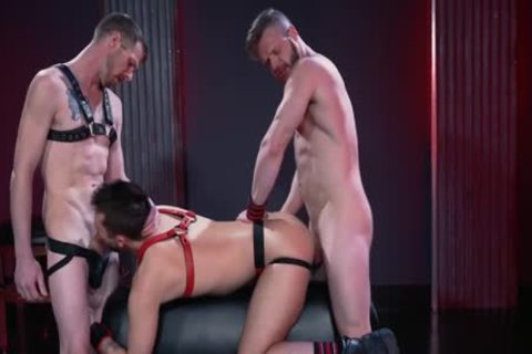 Mysterious Leather three-some Deepthroat, bang And Fist