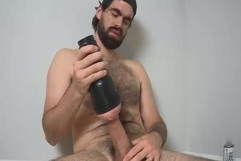 hairy guy jerking off With A Fleshlight