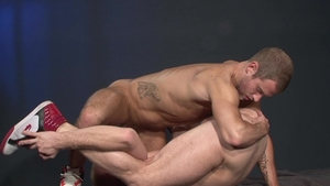 RagingStallion - Shawn Wolfe in clamps really likes fingering