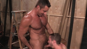 Raging Stallion: Hairy Colt Rivers rimming in backstage