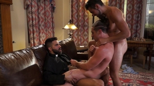 Falcon Studios: Adam Ramzi playing with uncut cock Dante Colle