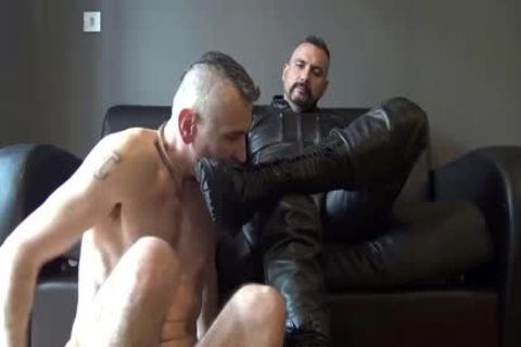 DILF Leather master Has Boots, Gloves & Uncut knob Worshipped previous to pounding serf & Facial Cumming