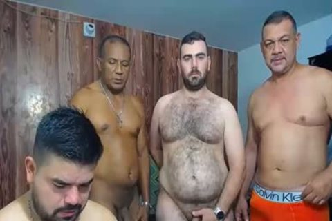A bunch Of old dudes stroking And Showing Off Their cocks