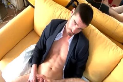 In Suits Straight Male receives Wanked His thick 10-Pounder Despite Of Him.